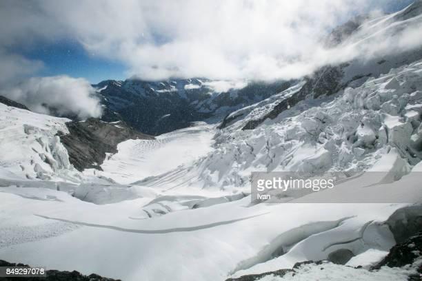 Aletsch Glacier with Jungfraujoch mountain, Switzerland