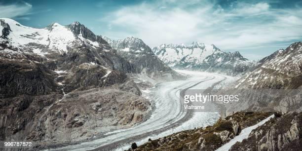 aletschgletscher - gletscher stock-fotos und bilder