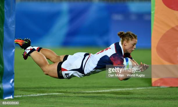 Alev Kelter of the United States dives over for a try during the Women's Rugby Sevens Pool A match between the United States and Colombia on Day 1 of...