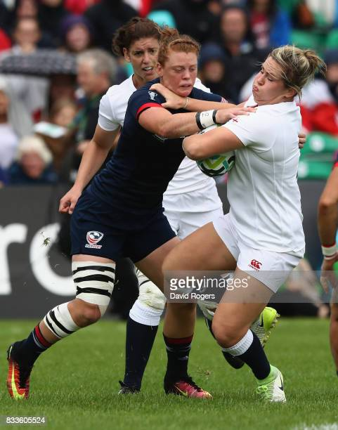Alev Kelter of USA tackles Marlie Packer of England during the Women's Rugby World Cup Pool B match between England and USA at Billings Park UCB on...