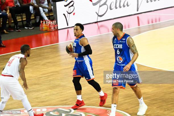 Alex Abreu and Blake Schilb of Chalons during the Jeep Elite match between Monaco and Chalon sur Saone on October 20 2018 in Monaco Monaco
