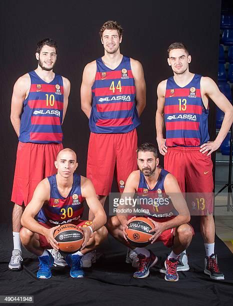 Alex Abrines #10 of FC Barcelona Lassa Ante Tomic #44 Tomas Satoransky #13 Carlos Arroyo #30 and Juan Carlos Navarro #11 poses during the 2015/2016...