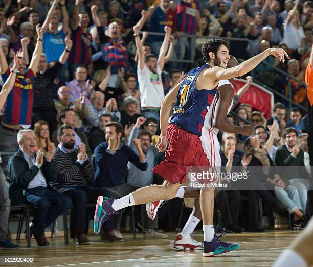 Alex Abrines #10 of FC Barcelona Lassa in action during the 20152016 Turkish Airlines Euroleague Basketball Playoffs Game 4 between FC Barcelona...