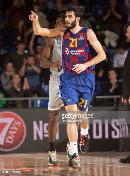 Alex Abrines, #21 of FC Barcelona celebrates at the end of during the 2019/2020 Turkish Airlines EuroLeague Regular Season Round 14 match between FC...