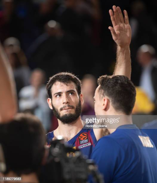 Alex Abrines, #21 of FC Barcelona celebrates at the end of the 2019/2020 Turkish Airlines EuroLeague Regular Season Round 14 match between FC...