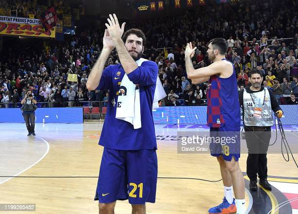 Alex Abrines, #21 of FC Barcelona celebrating at the end of the 2019/2020 Turkish Airlines EuroLeague Regular Season Round 24 match between FC...