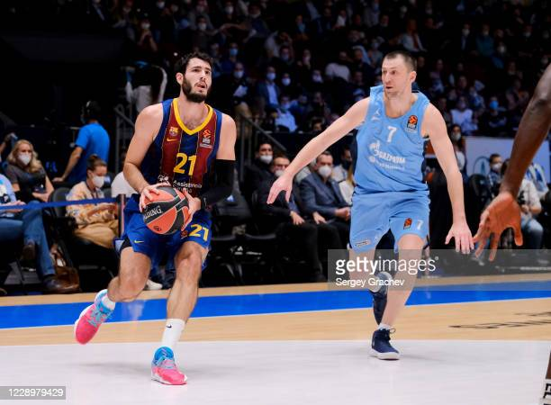 Alex Abrines, #21 of FC Barcelona in action during the 2020/2021 Turkish Airlines EuroLeague Regular Season round 2 match between Zenit St Petersburg...