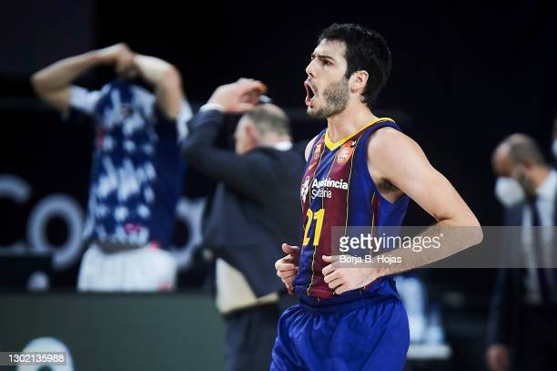 Alex Abrines of Barsa during Finals King's Cup match between Real Madrid and Barsa at Wizink Center on February 14, 2021 in Madrid, Spain.