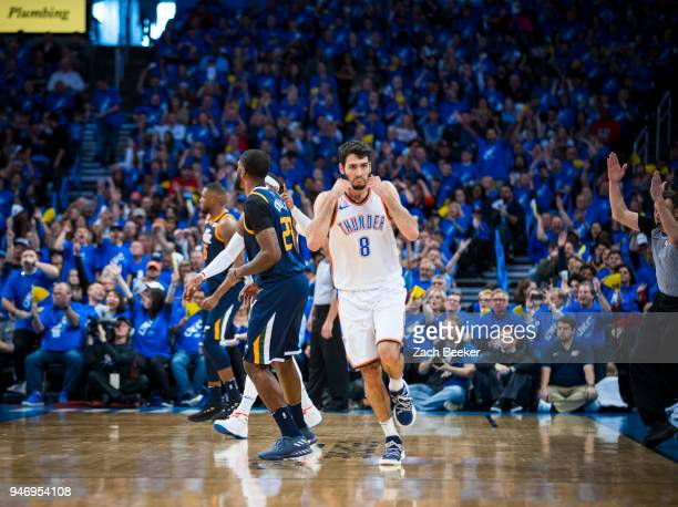 Alex Abrines of the Oklahoma City Thunder celebrates during the game against the Utah Jazz during Game one and Round one of the 2018 NBA Playoffs on...