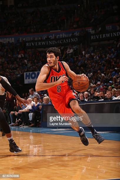 Alex Abrines of the Oklahoma City Thunder drives to the basket during a game against the Orlando Magic on November 13 2016 at Chesapeake Energy Arena...