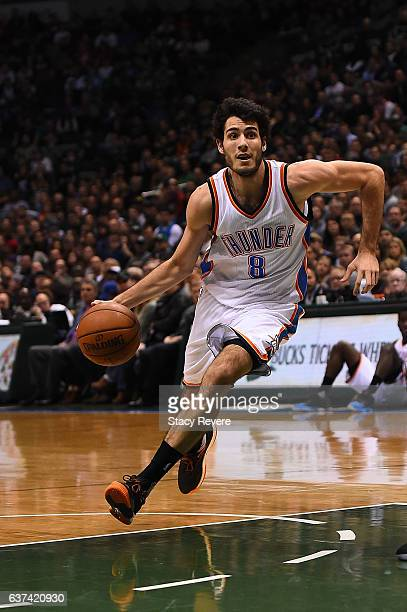 Alex Abrines of the Oklahoma City Thunder drives to the basket during a game against the Milwaukee Bucks at the BMO Harris Bradley Center on January...