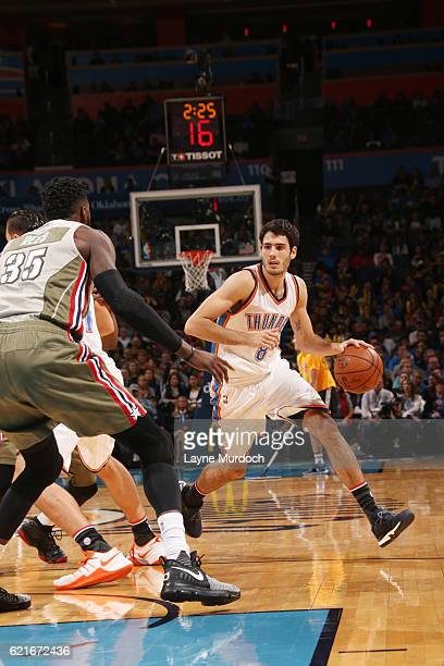 Alex Abrines of the Oklahoma City Thunder drives to the basket against the Miami Heat during the game on November 7 2016 at Chesapeake Energy Arena...