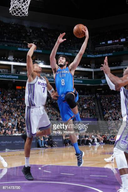 Alex Abrines of the Oklahoma City Thunder goes to the basket against the Sacramento Kings on November 7 2017 at Golden 1 Center in Sacramento...