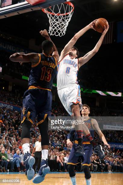Alex Abrines of the Oklahoma City Thunder goes to the basket during the game against the Cleveland Cavaliers on February 9 2017 at Chesapeake Energy...