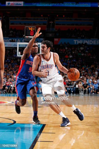 Alex Abrines of the Oklahoma City Thunder handles the ball against the Detroit Pistons during a preseason game on October 3 2018 at the Chesapeake...