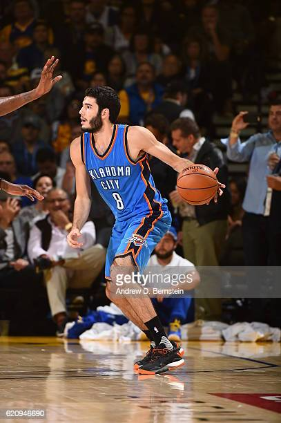 Alex Abrines of the Oklahoma City Thunder handles the ball against the Golden State Warriors on November 3 2016 at ORACLE Arena in Oakland California...