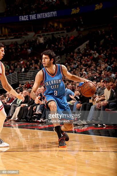 Alex Abrines of the Oklahoma City Thunder handles the ball against the Chicago Bulls on January 9 2017 at the United Center in Chicago Illinois NOTE...