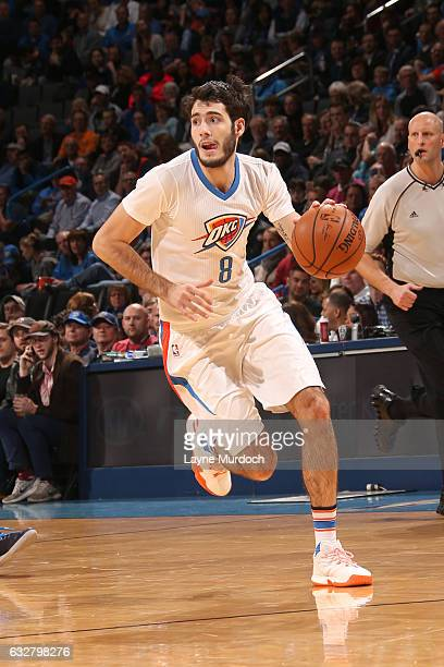 Alex Abrines of the Oklahoma City Thunder handles the ball against the Dallas Mavericks on January 26 2017 at Chesapeake Energy Arena in Oklahoma...