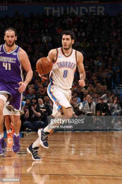 Alex Abrines of the Oklahoma City Thunder handles the ball against the Sacramento Kings on January 15 2018 at Chesapeake Energy Arena in Oklahoma...