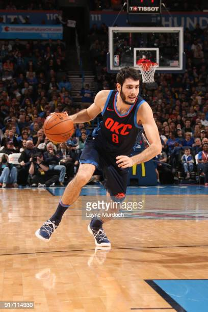 Alex Abrines of the Oklahoma City Thunder handles the ball against the Memphis Grizzlies on February 11 2018 at Chesapeake Energy Arena in Oklahoma...