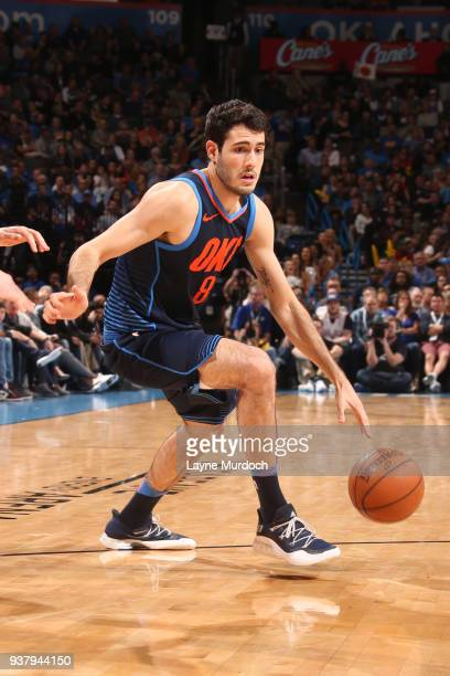 Alex Abrines of the Oklahoma City Thunder handles the ball against the Portland Trail Blazers on March 25, 2018 at Chesapeake Energy Arena in...