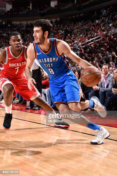 Alex Abrines of the Oklahoma City Thunder handles the ball against the Houston Rockets on April 7 2018 at the Toyota Center in Houston Texas NOTE TO...