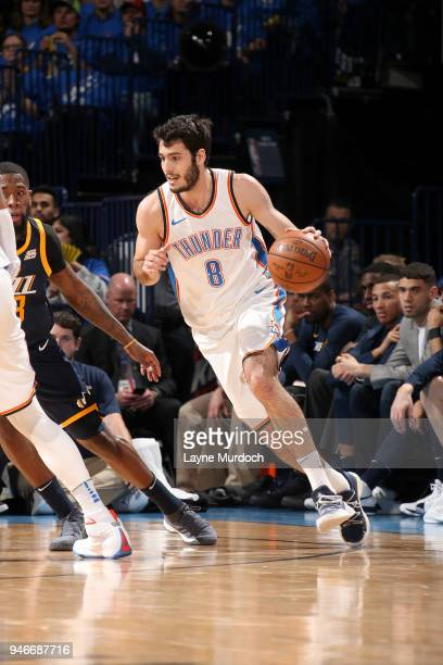Alex Abrines of the Oklahoma City Thunder handles the ball against the Utah Jazz during Game One of Round One of the 2018 NBA Playoffs on April 15...