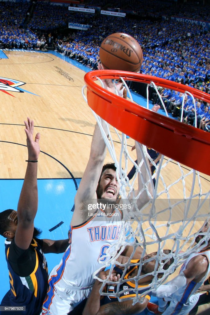 Alex Abrines #8 of the Oklahoma City Thunder handles the ball against the Utah Jazz during Game One of Round One of the 2018 NBA Playoffs on April 15, 2018 at Chesapeake Energy Arena in Oklahoma City, Oklahoma.