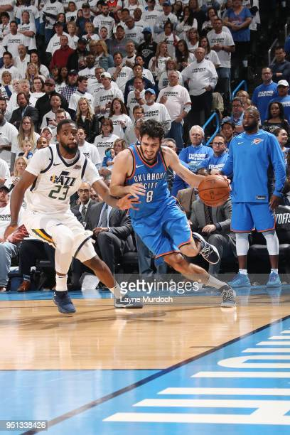 Alex Abrines of the Oklahoma City Thunder handles the ball against the Utah Jazz in Game Five of Round One of the 2018 NBA Playoffs on April 25 2018...