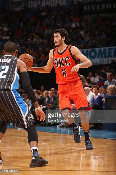 Alex Abrines of the Oklahoma City Thunder handles the ball during a game against the Orlando Magic on November 13 2016 at Chesapeake Energy Arena in...