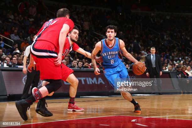 Alex Abrines of the Oklahoma City Thunder handles the ball during a game against the Washington Wizards on February 13 2017 at Verizon Center in...