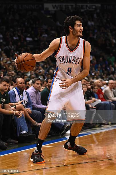Alex Abrines of the Oklahoma City Thunder handles the ball during a game against the Milwaukee Bucks at the BMO Harris Bradley Center on January 2...