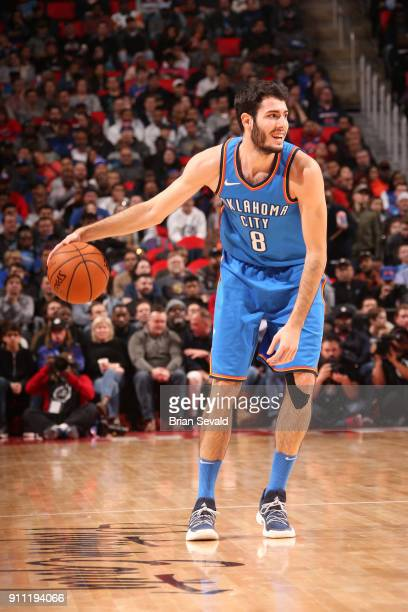 Alex Abrines of the Oklahoma City Thunder handles the ball during the game against the Detroit Pistons on January 27 2018 at Little Caesars Arena in...