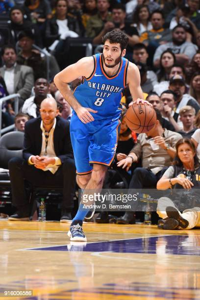 Alex Abrines of the Oklahoma City Thunder handles the ball during the game against the Los Angeles Lakers on February 8 2018 at STAPLES Center in Los...