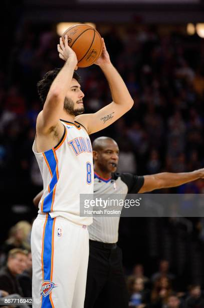 Alex Abrines of the Oklahoma City Thunder inbounds the ball against the Minnesota Timberwolves during the game on October 27 2017 at the Target...