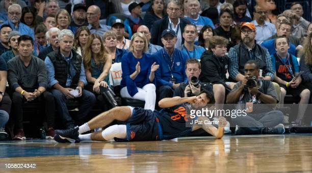 Alex Abrines of the Oklahoma City Thunder injuries during the first half of a NBA game against the Sacramento Kings at the Chesapeake Energy Arena on...