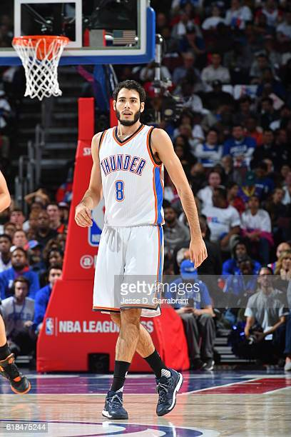 Alex Abrines of the Oklahoma City Thunder looks on against Philadelphia 76ers during game at the Wells Fargo Center on October 26 2016 in...