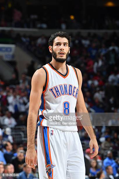 Alex Abrines of the Oklahoma City Thunder looks on against the Philadelphia 76ers during game at the Wells Fargo Center on October 26 2016 in...