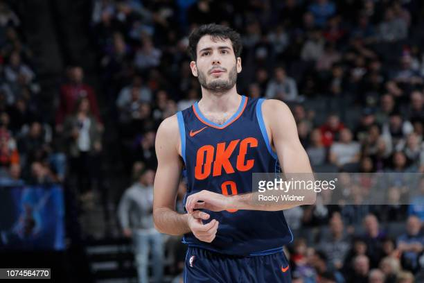 Alex Abrines of the Oklahoma City Thunder looks on during the game against the Sacramento Kings on December 19, 2018 at Golden 1 Center in...