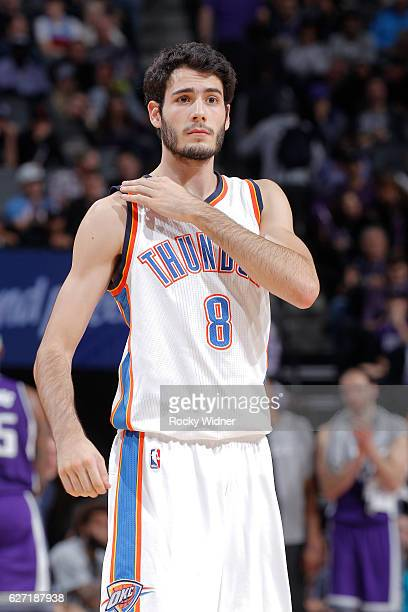 Alex Abrines of the Oklahoma City Thunder looks on during the game against the Sacramento Kings on November 23 2016 at Golden 1 Center in Sacramento...