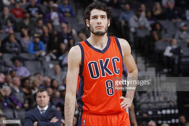 Alex Abrines of the Oklahoma City Thunder looks on during the game against the Sacramento Kings on January 15 2017 at Golden 1 Center in Sacramento...