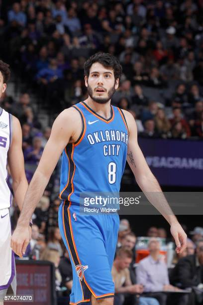 Alex Abrines of the Oklahoma City Thunder looks on during the game against the Sacramento Kings on November 7 2017 at Golden 1 Center in Sacramento...