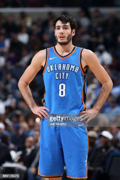 Alex Abrines of the Oklahoma City Thunder looks on during the game against the Memphis Grizzlies on December 9 2017 at FedExForum in Memphis...
