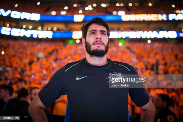Alex Abrines of the Oklahoma City Thunder looks on prior to Game Six of the Western Conference Quarterfinals during the 2018 NBA Playoffs against the...