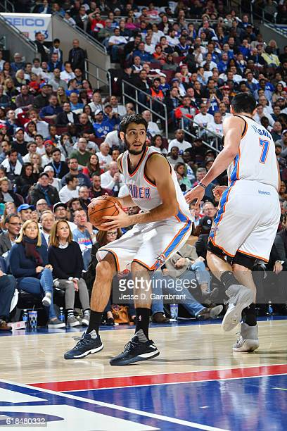 Alex Abrines of the Oklahoma City Thunder looks to pass the ball against Philadelphia 76ers during game at the Wells Fargo Center on October 26 2016...