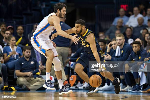 Alex Abrines of the Oklahoma City Thunder playing defense during a game against the Indiana Pacers at the Chesapeake Energy Arena on October 25 2017...