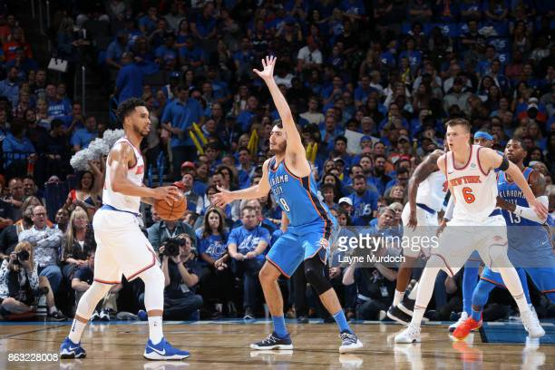 Alex Abrines of the Oklahoma City Thunder plays defense against the New York Knicks on October 19 2017 at Chesapeake Energy Arena in Oklahoma City...