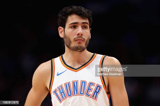 Alex Abrines of the Oklahoma City Thunder plays the Denver Nuggets at the Pepsi Center on December 14, 2018 in Denver, Colorado. NOTE TO USER: User...