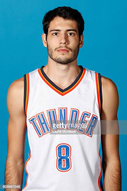 Alex Abrines of the Oklahoma City Thunder poses for a head shot during 2016 NBA Media Day on September 23 2016 at the Chesapeake Energy Arena in...