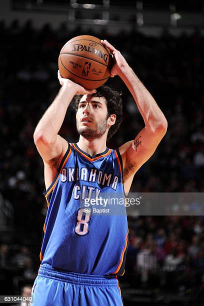 Alex Abrines of the Oklahoma City Thunder shoots a free throw during the game against the Houston Rockets on January 5 2017 at the Toyota Center in...